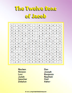The 12 Sons of Jacob (or Israel) - Bible Word Search